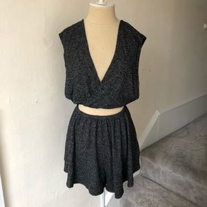 Urban Outfitters Soft Keyhole Front Wrap Romper